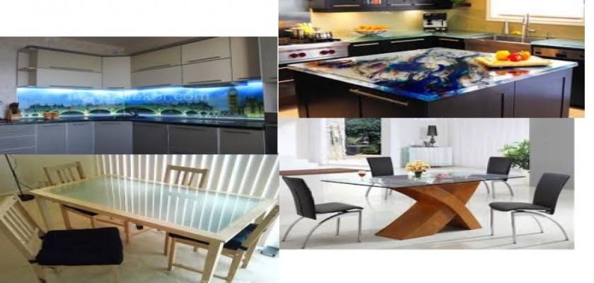 Mutfak Masalarında Temperli Cam Kaplama tasarımlar